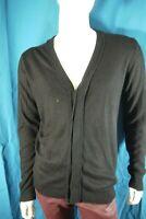 JAPAN RAGS Taille L Superbe gilet noir homme acrylique laine cadigan