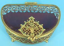 VTG. FILIGREE ORMOLU GILT GOLD CASKET BEVELED GLASS JEWELRY TRINKET BOX