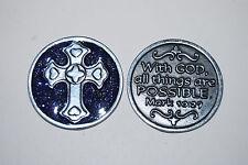 """CROSS Enamel Sparkle Token Christian Religious Gift 1 1/4"""" Coin Mark 10:27"""