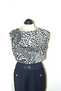 Jaeger Black White Animal Print Pure Silk Round Neck Blouse Top UK Size 14 NEW