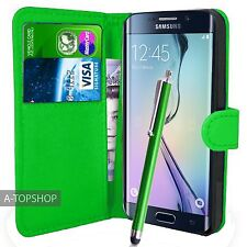 Vert étui porte-feuille Cuir PU Couverture Du Livre pour Samsung Galaxy S6  edge