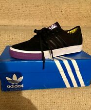 Adidas Originals Adi Ease Low ST black with white sole and purple Accents UK 10