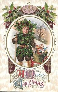 Holly boy pulling wagon of toys~ RARE Antique Christmas postcard~ 1914 Wanamaker
