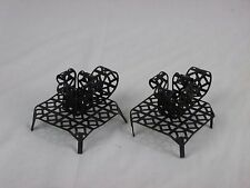 Pr Vtg Mid Century Black Metal Mesh Taper Candle Holders 50s