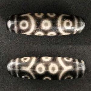 Antique Dzi Bead Old Tibetan 15 Eyes 2 Stripes Amulet Agate 49mm #524