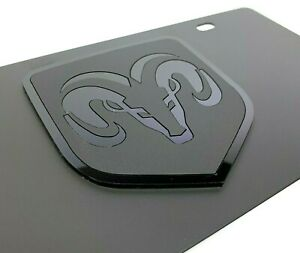 Premium Black Vanity License Plate w/ Dodge Ram Emblem (Grill Head Pickup Truck)