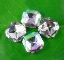 faceted square 23mm Acrylic Crystal Diamante Rhinestone silver cup applique sew