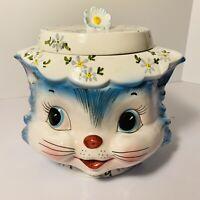 "RARE VINTAGE  LEFTON ""MISS PRISS"" #7871 BLUE KITTY COOKIE JAR w/LID 7.5"""