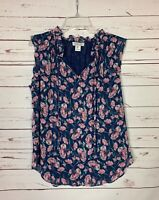 RACHEL ZOE Women's L Large Navy Pink Floral Sleeveless Spring Summer Top Blouse