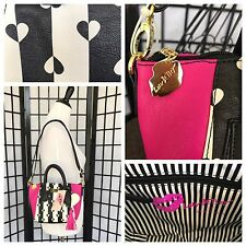 NWT Betsey Johnson Black White Pink Heart Mini Dome Quilted  Satchel LBGIYAA