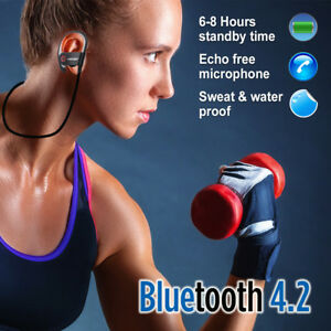 Wireless Bluetooth Headset Headphones Sport Sweatproof Stereo Earbuds Clip