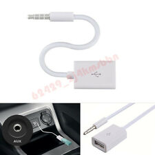Autos MP3 3.5mm Male AUX Audio Plug Jack To USB 2.0 Female Converter Cable White