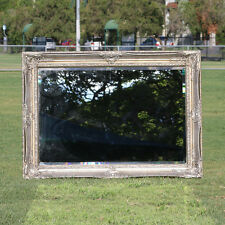 Wooden Large Silver Mirror on Mirror with Beaded Frame 114CM * 80CM
