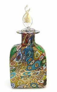 Elegant Murano Art Glass Millefiori Murrine Perfume Bottle & Certificate