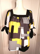 ND New Direction Petite Womens Size PM Career Top Blouse Black Grey Yellow