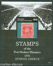 CANOUAN  2015  STAMPS OF THE FIRST MODERN OLYMPICS 1896 GREECE S/S  MINT  NH