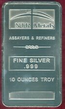10 Troy Ounce .999 Fine Silver Bar from NTR Metals