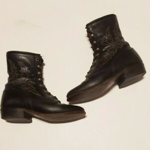 Larry Mahan USA Black Leather  Boots Cowboy Ankle Lace Up Women 6.5M