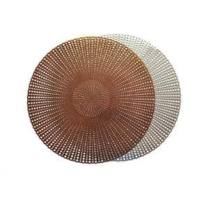 "Wintop 16.5"" Round Vinyl Metallic Placemats, Set of 6, Gradual Raindrop Pattern"