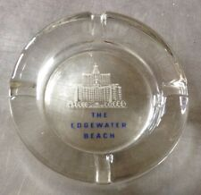 """Vintage The Edgewater Beach Hotel Chicago Il Clear Glass Round Ashtray 4.5"""""""