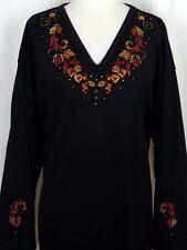 PLUS 2X Black Autumn Leaves Rhinestone Hand Embellished Top Shirt