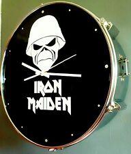 IRON MAIDEN steel snare drum clock a matter of life & death Eddie crossed guns
