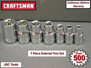 "CRAFTSMAN HAND TOOLS 7 pc External E Torx Star Bit Socket Set 1/4"" 3/8"" Drive"