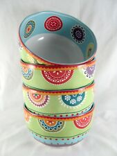 """4- 222 Fifth Kaleidoscope Cereal Bowls, 5-7/8"""", soup, all purpose, PTS"""