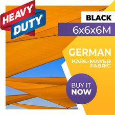 SHADE SAIL TRIANGLE BLACK 6m x 6m x 6m SUN AWNING 6x6x6 6x6x6m 6 x 6 x 6