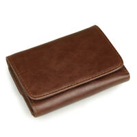Vintage Mens Trifold Wallet Genuine Leather Brown Credit/ID Card Holder Purse