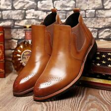 Mens Leather Smart Formal Brogue Chelsea Boots Pull On Ankle Boots Casual Shoes