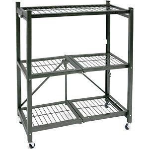 Origami R3 General Purpose Foldable 3-Tiered Shelf Storage Rack & Wheels, Pewter