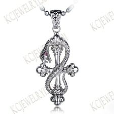 Round Cut Ruby Solid 18K White Gold Antique Fine Pendant Men's Jewelry