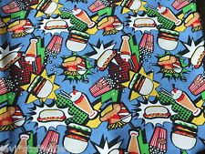 Sweatshirt Stoff Big Diner blau bunt Hilco Kinderkleidung Meterware Fast Food