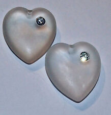 Lucite & Rhinestone Heart Pendant Charms puffy heart 24mm x 21mm x 8mm drilled 2