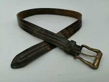 Stitched Leather Belt 34 36 Distressed Brown