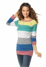 Gestreifte feine Damen-Pullover aus Baumwollmischung