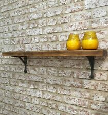 """Reclaimed CHUNKY Wood Shelf With 5"""" INDUSTRIAL IRON Brackets. Upcycled,rustic"""