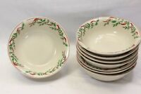 """Old Time Pottery Holly Ribbon Soup Cereal Bowls Xmas 7.25"""" Set of 8"""