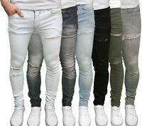 Soulstar Mens Distressed Skinny Stretch Fit Ripped Denim Jeans