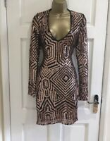 New Womens Gold Black Abstract V neck Plunge Party Evening Dress Size 8 - 14
