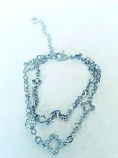 "Marie Claire Crystal Clover Charm Anklet Swarovski Crystals 7.5""-9.5"" Adjustable"
