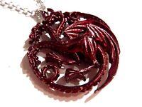 BLOOD RED TARGARYEN SIGIL PENDANT game of thrones dragon Daenerys necklace 1I