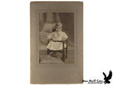 Antique Photo Young Boy Child Dress High Top Shoes Big Bow Chicago IL Portrait