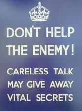 A3 World War II Propaganda Poster DON'T HELP THE ENEMY! Careless Talk Secrets