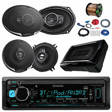 """Kenwood Car Bluetooth Radio, 150W Subwoofer, 6x9"""" and 5.25"""" Speakers with Wiring"""