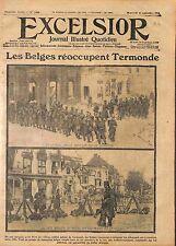 Fantassins Infanterie de Belgique Ruines Place Termonde Dendermonde  WWI 1914