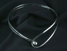 .925 Sterling Silver Plated Choker Collar Necklace Shiny Fashion Jewelry