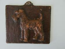 Vintage Syroco Wood Terrier Airedale Dog Wall Hanging Small Plaque