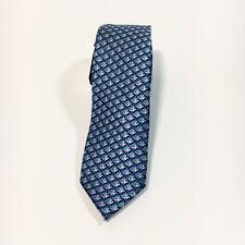 "Express Mens Skinny Narrow 100% Silk Blue Geometric Fish Pattern Neck Tie 2"" NWT"